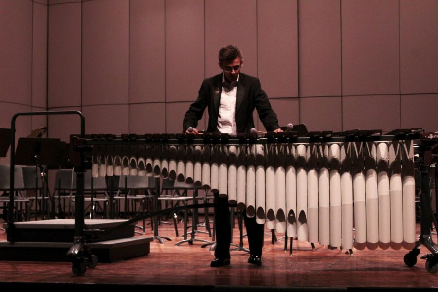 Senior Matt Boyle plays his solo at the Pre-CBA Concert on Feb. 24
