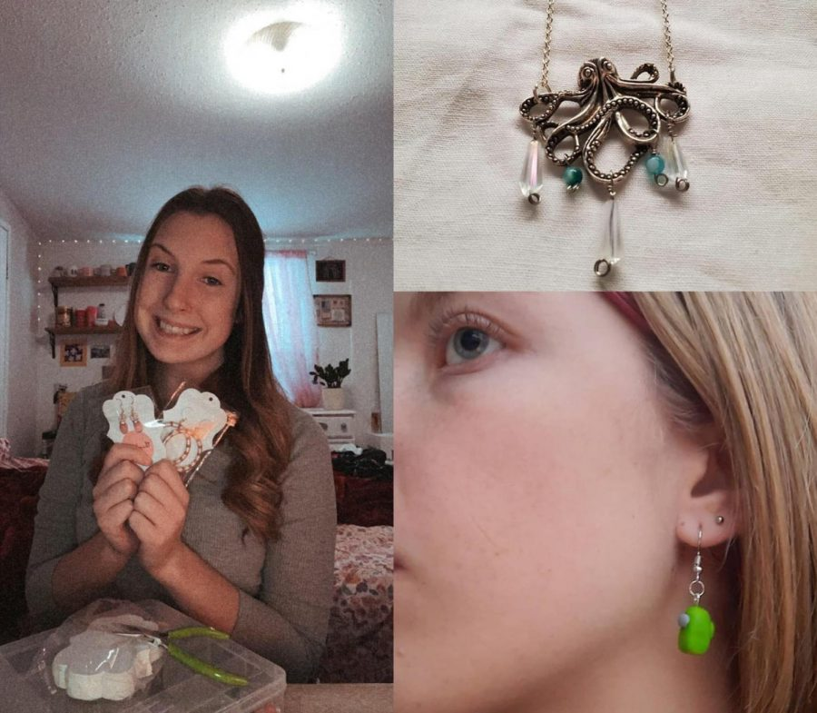 Top left: Senior Deanna Speers shows off her earrings. Top right: One of Junior Lexy Lambert's necklaces. Bottom right: Junior Jessica Nance models her Among Us earrings.  Photos provided by Deanna Speer, Lexy Lambert and Jessica Nance